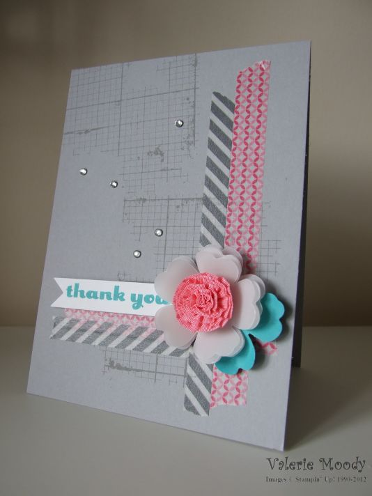 Stampin Up! Off the Grid Ruffled Ribbon Flower - Stamping with Val. X