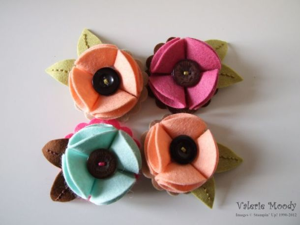 Felt Brooches - Stamping With Val - Valerie Moody, Independent Stampin' Up! Demonstrator. X