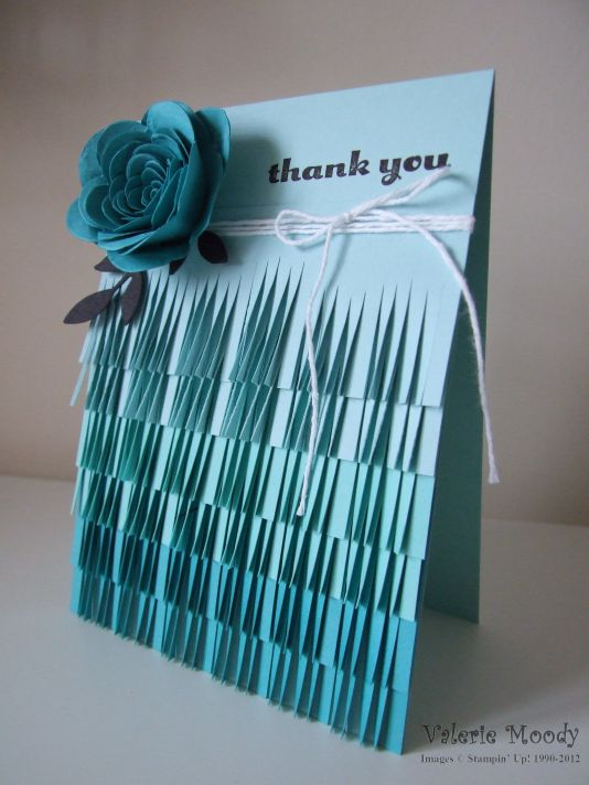 Stampin' Up! - Ombre Fringing - Fringe Scissors - Spiral Flower Die - Stamping With Val - Valerie Moody; Indepedent Stampin' Up! Demonstrator. X