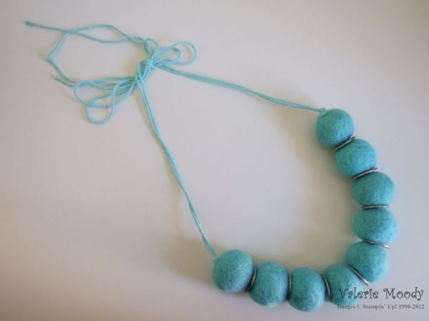 Felt Ball Necklace - Stampin' Up! - Stamping With Val - Valerie Moody; Independent Stampin' Up! Demonstrator. X
