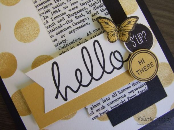 Stampin' Up! - Hi There - Dots & Stripes Mask - Typeset DSP - Stamping With Val - Valerie Moody; Independent Stampin' Up! Demonstrator. X