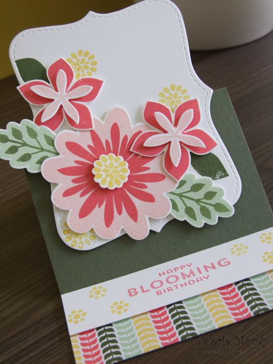 Stampin' Up! - Flower Fair Stamps - Flower Patch Framelits - All Abloom DSP - Easel Card - Stamping With Val - Valerie Moody; Independent Stampin' Up! Demonstrator. X