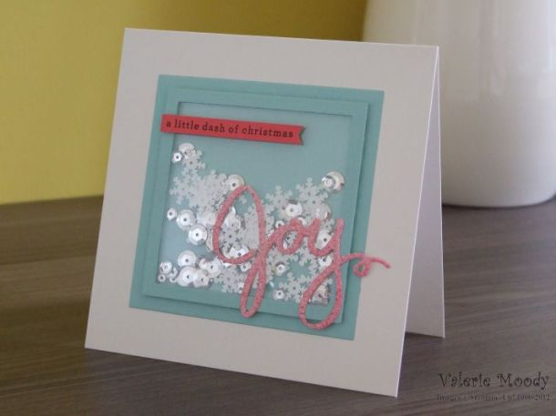 Stampin' Up! - Joy Shaker Card - Glimmer Card - Frosted Seqins - Wondrous Wreath Framelits - Stamping With Val - Valerie Moody; Independent Stampin' Up! Demonstrator. X