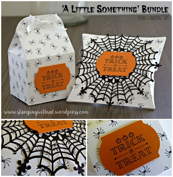 Stampin' Up! - A Little Something - Pillow Box Die - Trick or Treat - Halloween - Valerie Moody; Independent Stampin' Up! Demonstrator. X
