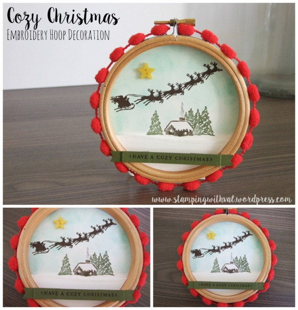 Stampin39; Up!  Cozy Christmas  Embroidery Hoop Decoration  Stamping