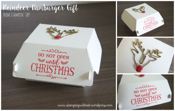 Stampin' Up! - Reindeer Hamburger Gift - Oh, What Fun - Stamping With Val - Valerie Moody; Independent Stampin' Up! Demonstrator. X